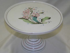 ANTIQUE VICTORIAN MILK GLASS PEDESTAL CAKE STAND, HAND PAINTED, U. S. GLASS