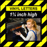 6 Characters 1.75 inch 45mm high pre-spaced stick on vinyl letters & numbers