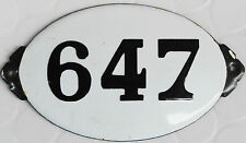 Old black white oval French house high number door gate plate enamel sign 646 +