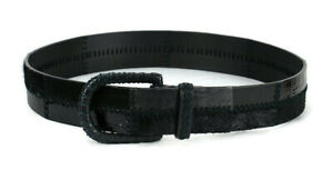 WCM New York Womens Belt Size S Black Leather/Suede/Patent Leather/Calf Hair