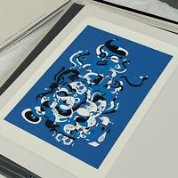 Jon Burgerman Blue Black White Limited Edition Screen Print BURGERPLEX