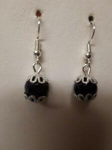 hand madeblack agate earrings,hook,drop/dangle,silver plated,gemstone,