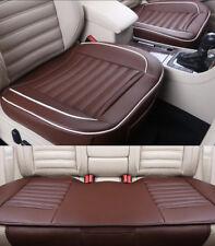 3pcs Coffee PU Leather Car Full Surround Seat Cover Buckwheat Shells Cushion Pad