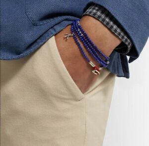 Isaia Lapis Lazuli Saracino Wrap Bracelet with Sterling Silver Coral Charm