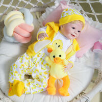 """22"""" Yellow Duck Clothes Soft Cloth Body Dolls Handmade Reborn Doll Rooted Hair"""