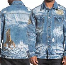 0637c805ea Affliction AC Cam Eagle Indian Skull Patches Bleach Mens Denim Jacket Blue  sz XL