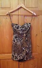 NWOT Asos Strapless Animal Print Wrap Effect Dress - Size 8