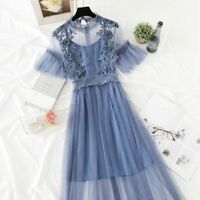 Ladies Lace Hollow Out Short Sleeve Floral Dress Vintage Mesh Elegant Embroidery
