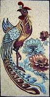 "40"" Handmade Animal Peacock Inlay Wall Hanging Art Marble Mosaic Art Tile Decor"