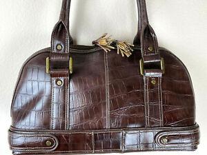 """Liz Claiborne Women Handbag Faux Leather Brown Tussle Bowling Shoulder Purse 16"""""""
