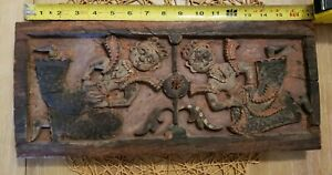 antique indonesian wood temple carving plaque javanese