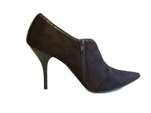 Steve Madden Ankle Boots Size 9.5 Verona Maroon Stiletto Hair Pointed Toe Zip
