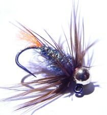 Tungsten Orange Tag Soft Hackled Jig, 3 Fly Fishing Flies (Sz.10)