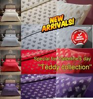 New Teddy Fleece Warm Cosy Heart & STAR Foil Valentine's Duvet Cover Set/Sheets