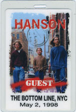 Hanson 1998 Bottom Line Nyc Laminated Backstage Pass