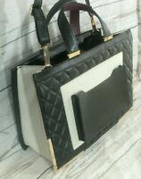 M&S Large Faux Leather Cross Body Shoulder Satchel Tote Bag Work Uni College