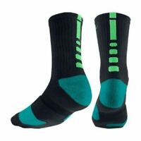 new NIKE ELITE Men's/ Women's Basketball Crew Socks SX3692-037 BLACK/ TEAL/GREEN