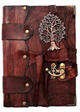 Handmade Real Leather Journal Diary Notebook Book Large Tree of Life Brown