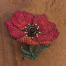 Joan Rivers Poppy Flower Pin - Swarovski Crystals Pin - Deep Colors Check it Out