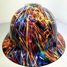 Hard Hat custom hydro dipped , OSHA approved FULL BRIM, COSMIC LIGHT FLARE SICK