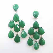 Handmade Natural  Gemstone Earrings, Green emerald chandelier earrings