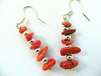 Earrings Red Bamboo Coral Silver Plate Hook Silver Plated Beads Drop Dangle