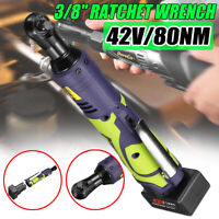 42V 80NM 3/8'' Cordless Electric Rattle Nut Gun Impact Wrench Tool+Battery Kit