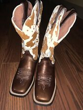 Women's Ariat Square Toe Cowhide Print Boots 6.5 B Metallic Brown