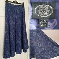 LAURA ASHLEY Size 12 Cotton Blue Floral Maxi Skirt