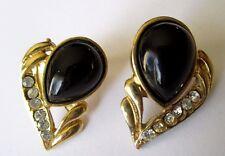 boucles d'oreilles percées bijou vintage couleur or et noir cristal diamant 3424