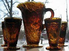 Tiara Indiana Glass Burnt Honey Sweet Pear Avocado Pitcher & Tumblers 5 pc Set