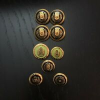 Lot of Vintage Escada Nautical Round Gold Tone Spare Buttons