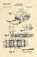 Official Snowmobile US Patent Art Print - Vintage Antique Snow Machine 1962 239