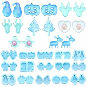 Claus Ear Studs Molds Merry Christmas Earrings Resin Mold Resin Silicone Mould