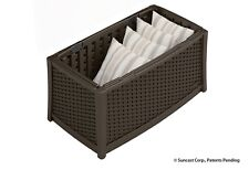 Suncast Elements Outdoor Resin Wicker Coffee Table with Storage, Java. No Lid