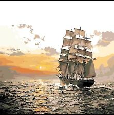 DIY Canvas oil Painting Paint By Numbers Sailboat Kit Include Colours+brush