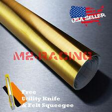 "*48""x84"" Chrome Gold Brushed Aluminum Wrap Decal Wallpaper Sticker Film 8083H"