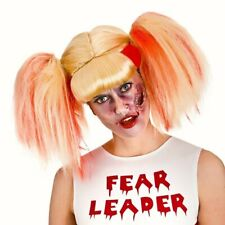 Zombie Cheerleader Blonde Blood Wig Bunches hair Fancy dress costume Halloween