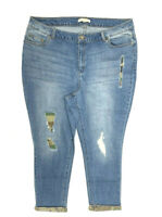 New! WOMAN WITHIN size 16T tall medium wash distressed jeans, camouflage patches