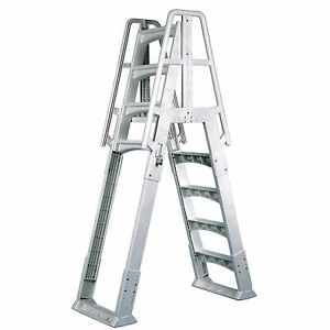 """Vinyl Works A Frame Ladder with Barrier for Swimming Pools 48 to 56"""" Tall, White"""