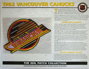 1982 VANCOUVER CANUCKS Willabee & Ward NHL THROWBACK HOCKEY TEAM PATCH Info Card