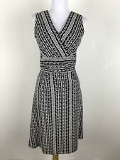 Adrianna Papell Dress 10 Black White Floral Embroidered Linen Rayon Sleeveless