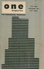 One Vol.13 No.11 November 1965 The Homosexual Viewpoint, Very Rare.