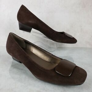 Talbots Brown Leather Suede Slip On Heels Button Toe Charm Women's 8.5 B