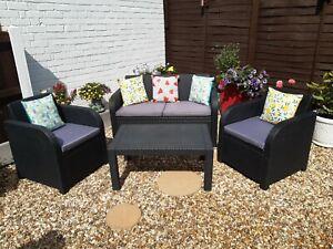 """Allibert"" 4 Piece Plastic Rattan Effect Garden Furniture Set In Black"