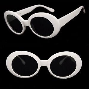 Retro Kurt Cobain Nirvana Oval Lens Aliens Shades White Thick Frame Sunglasses