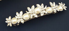 Beautiful Barrette Hair Clip Grip Butterfly crystal pearl design silver tone
