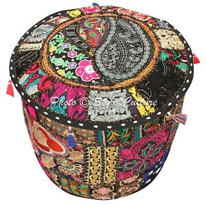 Indian Round Pouf Cover 16 Inch Furniture Cotton Patchwork Embroidered Black