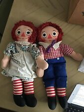"Vintage Pair of Raggedy Ann and Andy Knickerbocker 16"" I Love You Dolls"