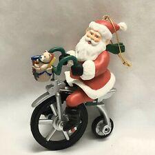 Cycling Santa Musical Movable Christmas Decoration Holiday Saint Nick Vintage